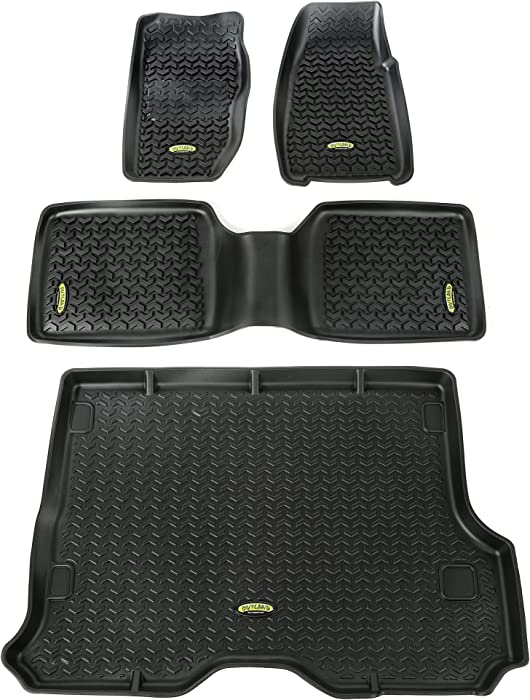 Outland 391298830 Black Front, Rear and Cargo Floor Liner Kit For Select Jeep Cherokee Models