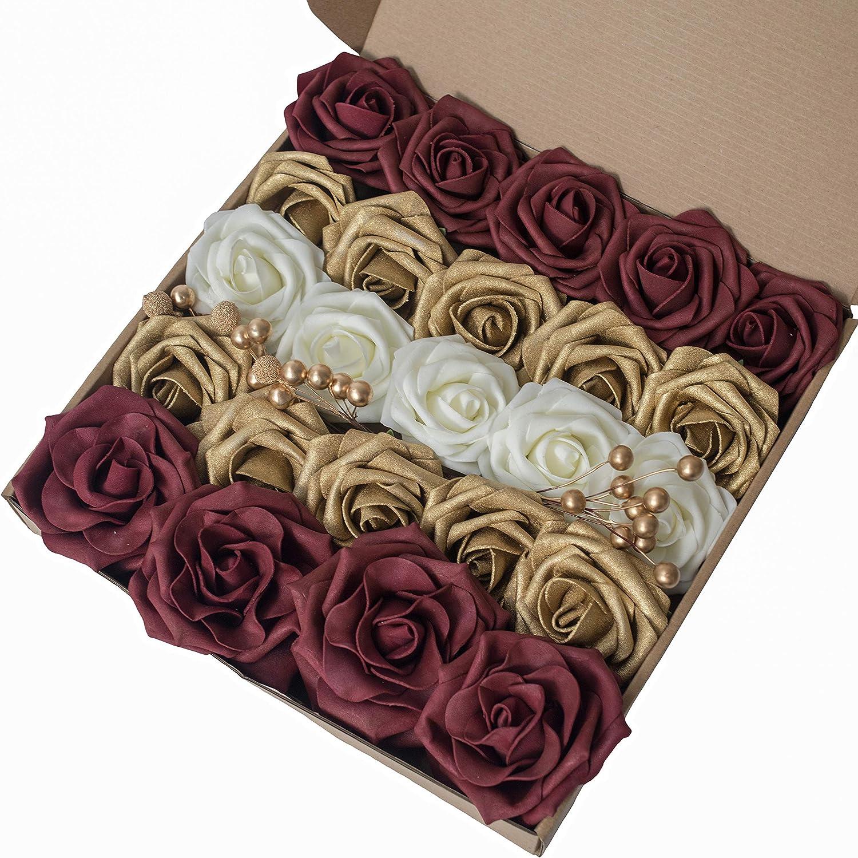 Amazon Com Breeze Talk Artificial Flowers Elegant Gold Roses 25pcs Realistic Fake Roses W Stem For Diy Wedding Bouquets Centerpieces Arrangements Party Baby Shower Home Decorations Elegant Gold Kitchen Dining