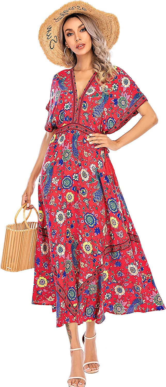 70s Clothes | Hippie Clothes & Outfits R.Vivimos Women Summer Print Deep V Neck Cotton Beach Long Dresses $30.99 AT vintagedancer.com