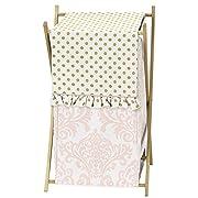 Sweet Jojo Designs Baby/Kids Clothes Laundry Hamper for Blush Pink White Damask and Gold Polka Dot Amelia Girls Bedding Set