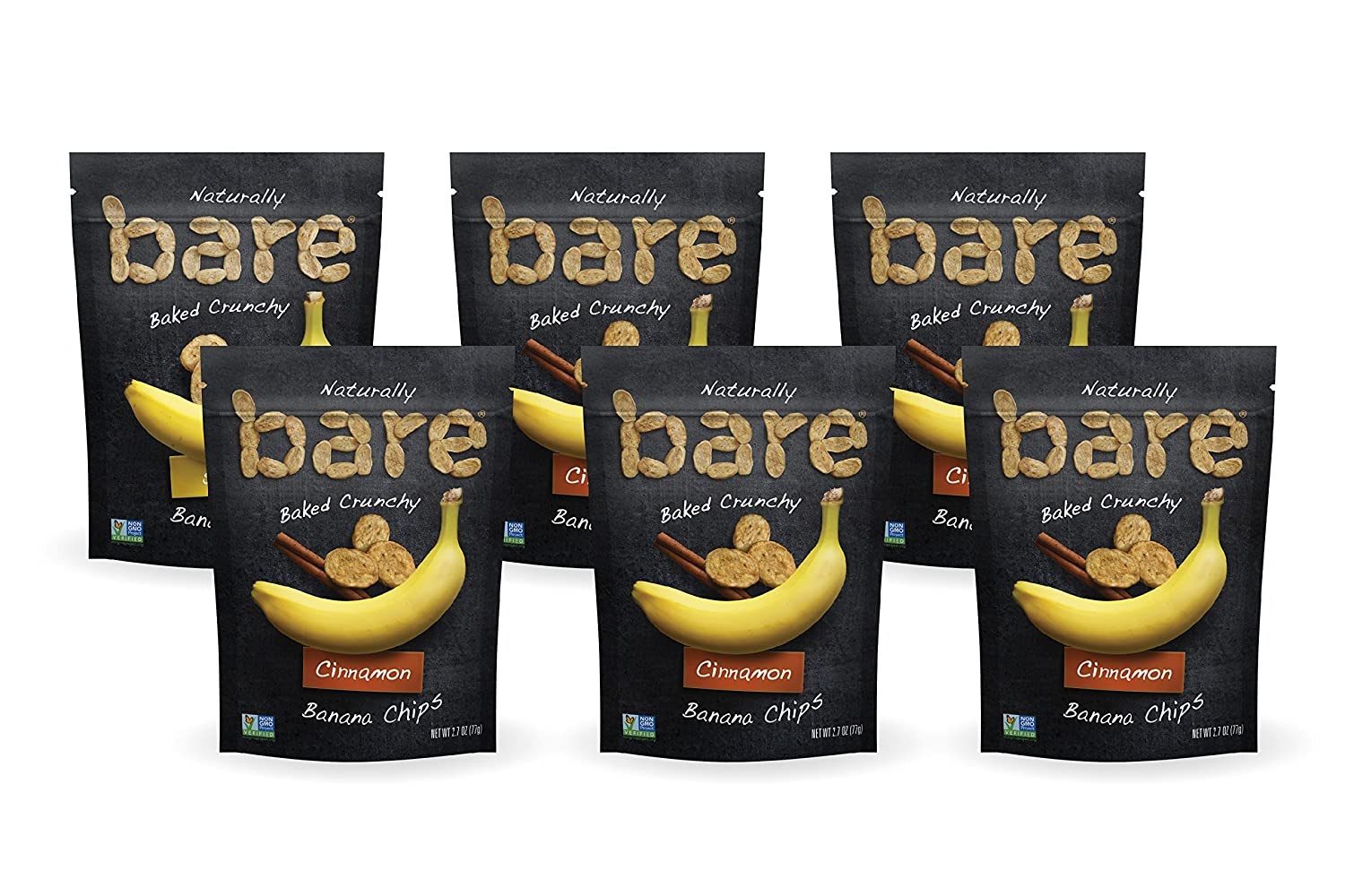 Bare Baked Crunchy Banana Chips, Cinnamon, Gluten Free, 2 7 Ounce Bag, Pack  of 6