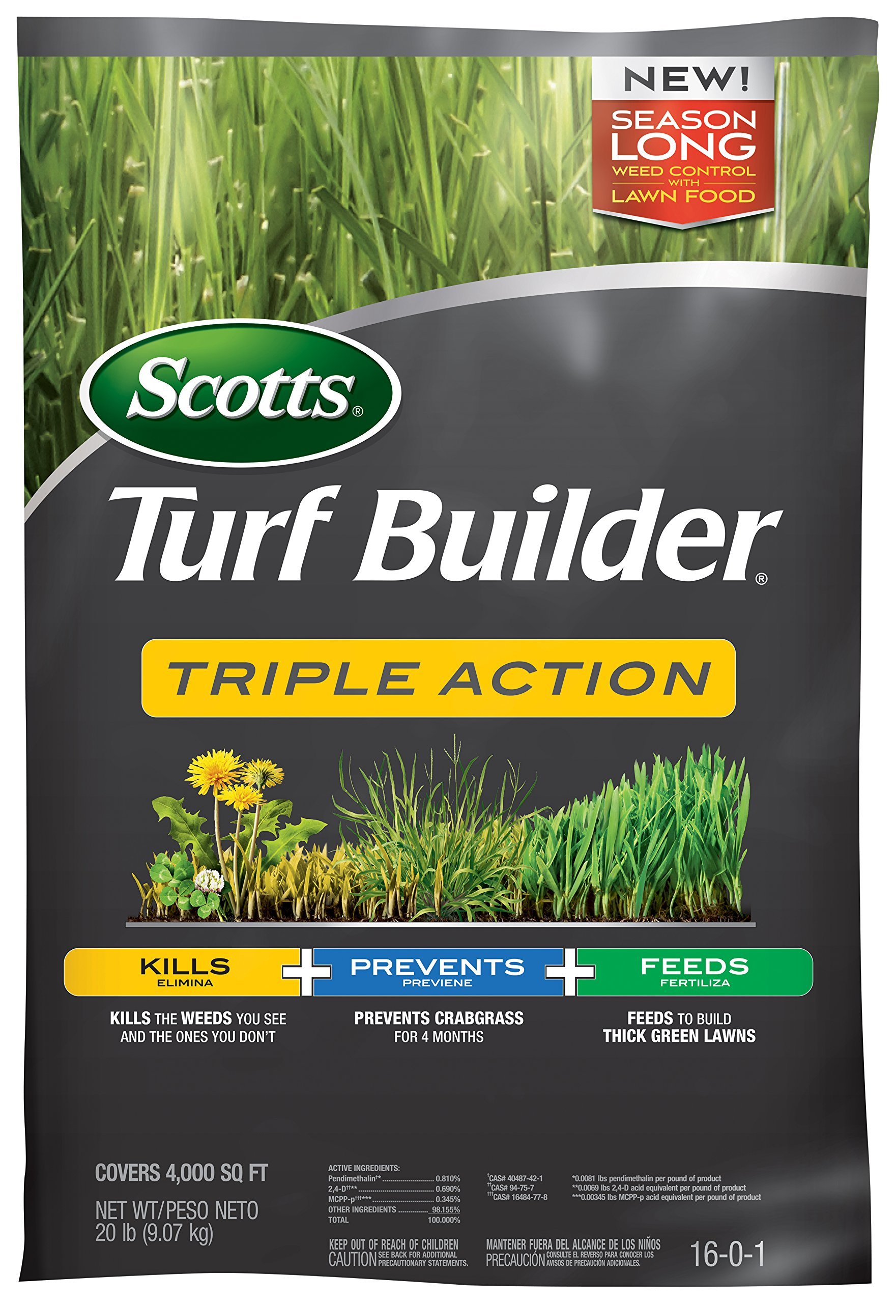 Scotts Turf Builder Triple Action 4,000 Sq. Ft. , Kills Weeds like Dandelions & Clover, Prevents Crabgrass For 4 Months, Feeds & Fertilizes To Build Thick Green Lawns | 26003