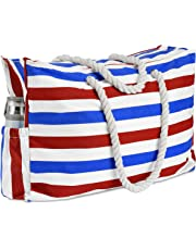 Beach Bag, Waterproof (IP64), L22 xH15 xW6, KUAK Extra Large Beach Bag for Women with Zipper, Two Outside Pockets, Canvas Beach Tote Bags Built-in Waterproof Phone Case, Key Holder, Bottle Opener