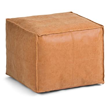 Simpli Home Brody Square Pouf, Distressed Brown