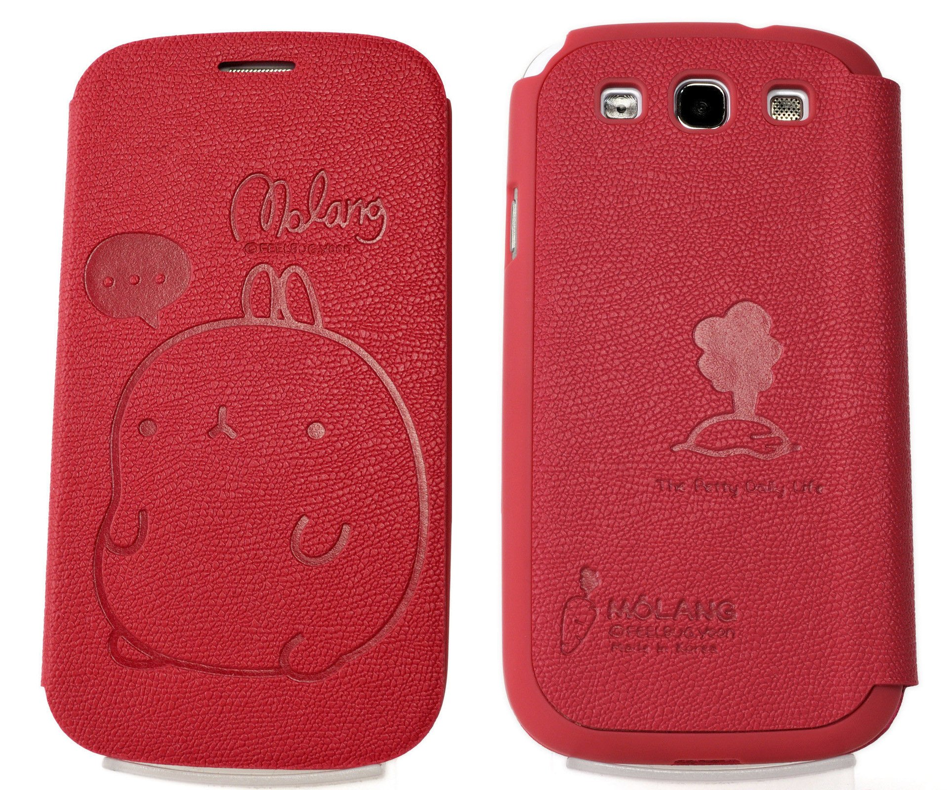 MOLANG Premium Leather Flip Case Cover For Samsung Galaxy S3 III i9300 i747 T999 L710 i535 R530 LTE 3G 4G (HotPink)