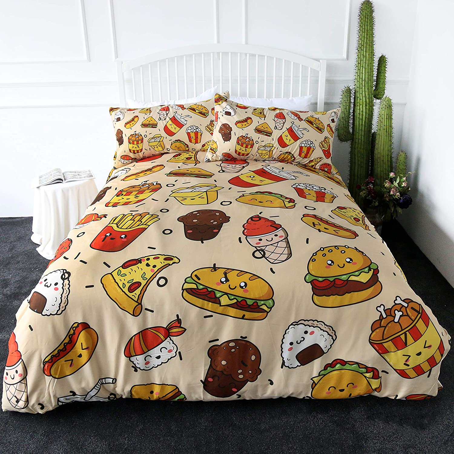 ARIGHTEX Fast Food Bedding 3 Pieces Pizza Hamburger French Fries Cupcake Bed Set 3D Creative Delicious Desserts Duvet Covers (Queen)