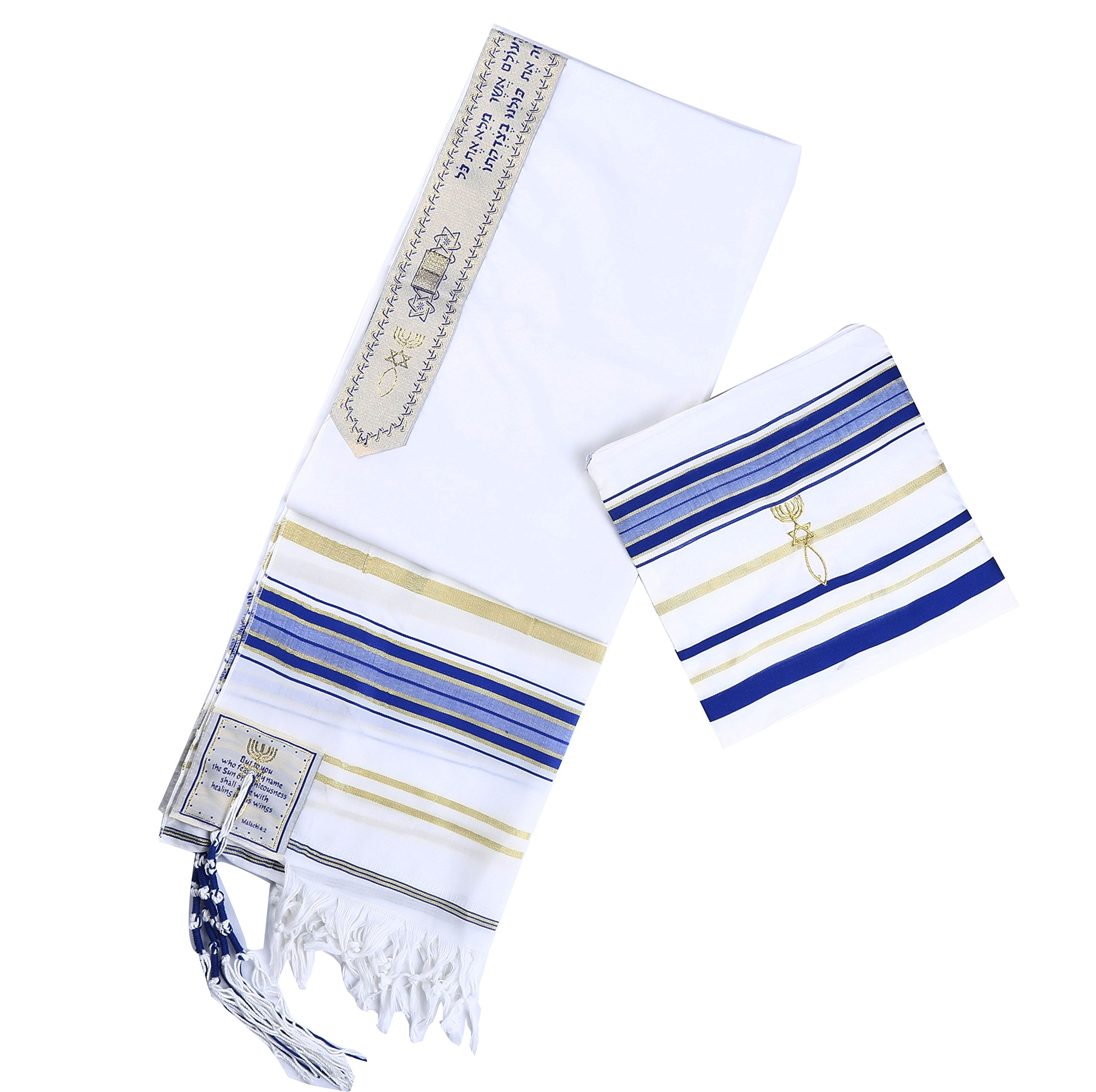 Royal blue Messianic Tallit Prayer Shawl 72'' X 22'' with Matching bag by Star Gifts