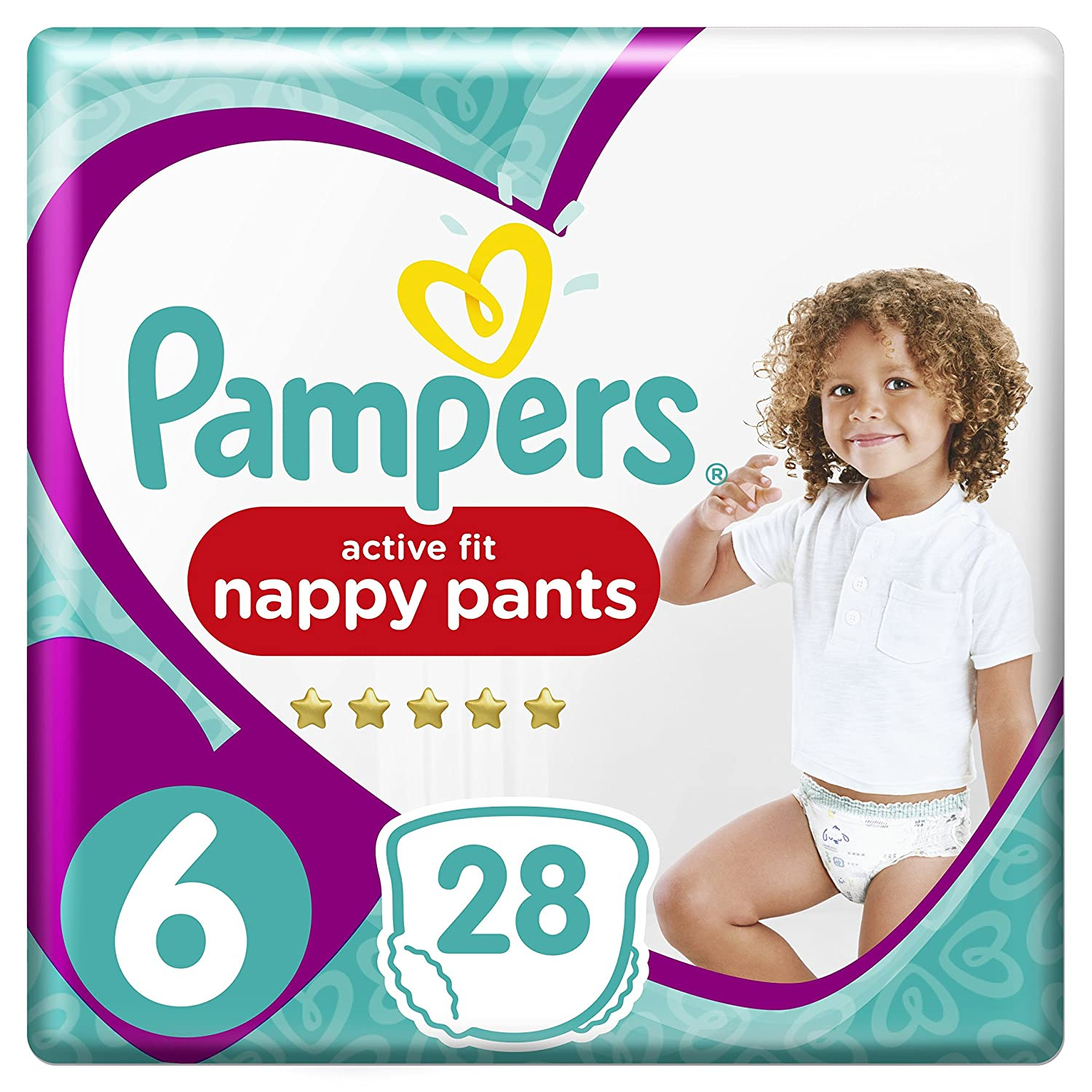Pampers Premium Protection Active Fit Nappy Pants, 28 Nappies, 15+ kg, Size 6 81605643