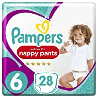 Pampers Premium Protection Active Fit Nappy Pants, 28 Nappies, 15+ kg, Size 6