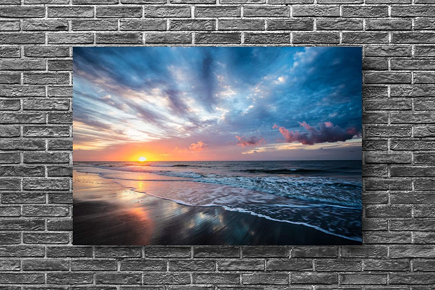 Coastal Picture on Metal Sunrise Over Atlantic Ocean on Hilton Head Island South Carolina Wall Art Photography Decor 8x10 to 24x36