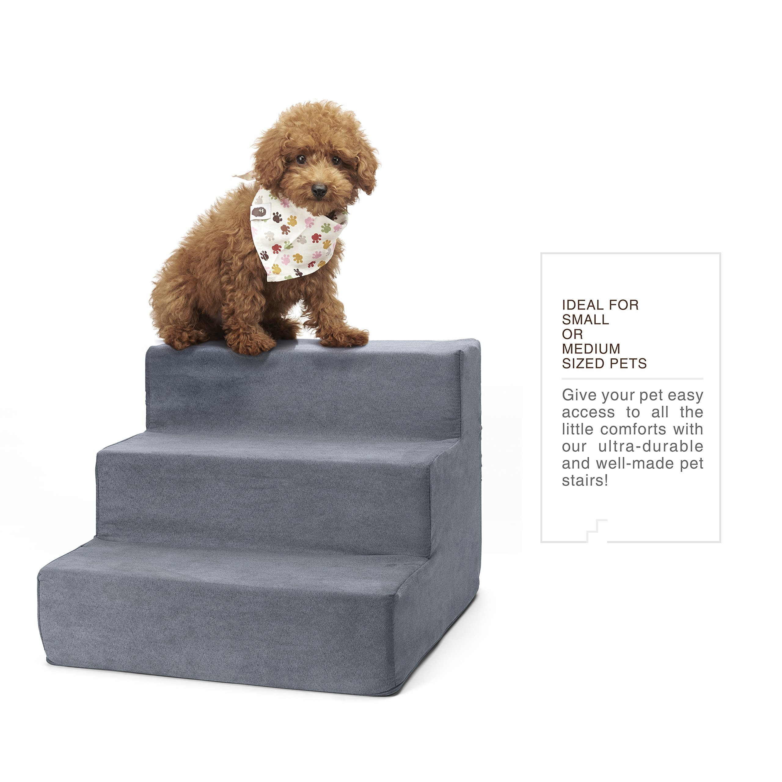 Delxo High Density Foam 3 Tier Pet Stairs,Comfy Micro Suede Pet Steps with Machine Washable Zippered Removable Cover with Anti-Slip Black Dot Bottom Loads 44lbs Gray(3-Step, Gray)