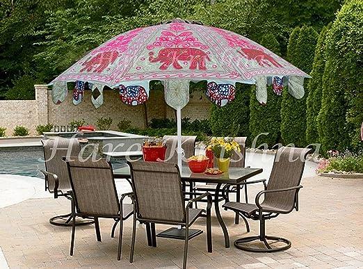 Hare Krishna Paraguas de jardín de Estilo Vintage Al Aire Libre Porche Cafe Balcón Sombrilla 177 x 228 Cm: Amazon.es: Hogar