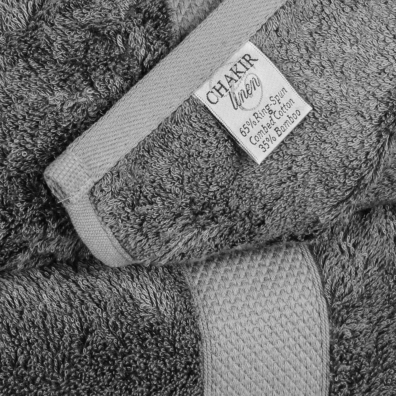 Chakir Turkish Linens Bamboo 4-Piece Set Gray Bath Towels