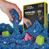 (Sparkling Blue, 900 GRAMS) - National Geographic Sparkling Play Sand - 900 Grammes of Shimmering Sand with Castle Moulds (Blue) - A Kinetic Sensory Activity