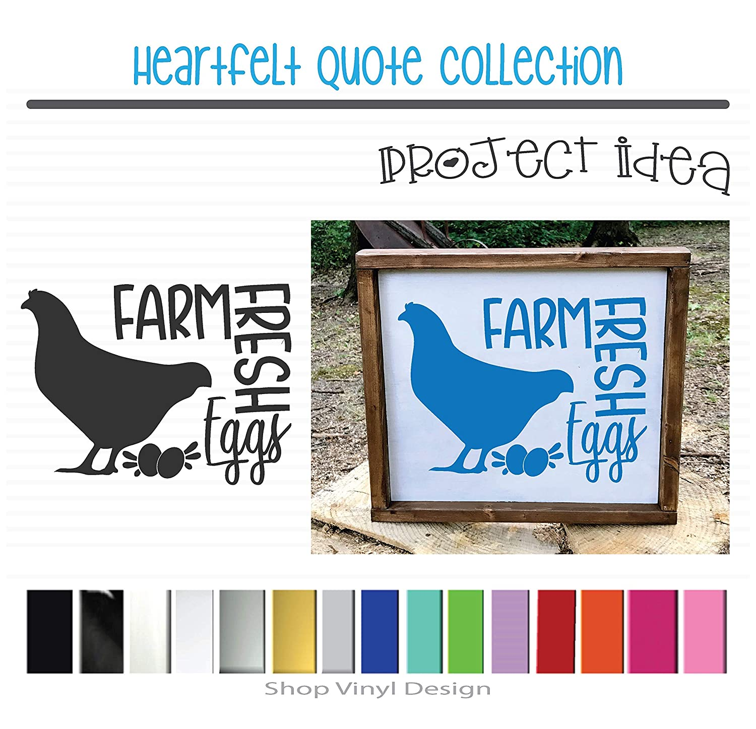 Sized for Farmhouse Vinyl Graphic Decal Sticker Can be Used for Vehicle Window Cooler Mirror Safe || High Quality Outdoor Rated Vinyl Chicken Farm Fresh Eggs Canvas Metal or Framed Sign