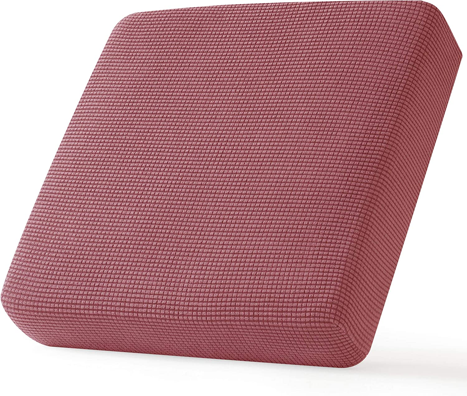 CHUN YI Stretch Couch Cushion Cover Replacement, Fitted Loveseat Sofa Chair Seat Slipcover Furniture Protector, Checks Spandex Jacquard Fabric, Small, Coral Pink
