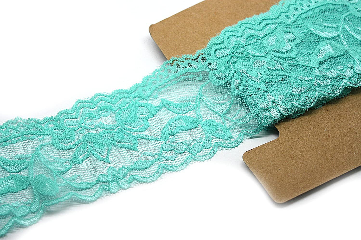 Stretch Lace Elastic Ivory Trim Lace for Headbands Garters 10 Yards 2 Inch Wide