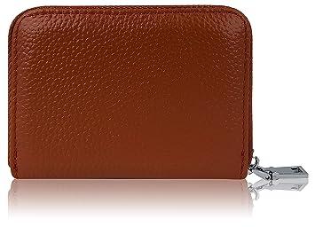 33881ce3d7120 Premium Kredit-Karten-Etui Geldbörse Echt-Leder mit Edel Stahl  Reißverschluß Zipper 12