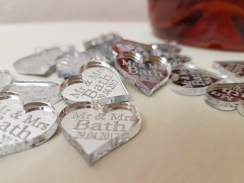 PERSONALISIERTE MR /& MRS LIEBE HEART HOCHZEIT TISCHDECKEN X 40 von LASERCRAFT