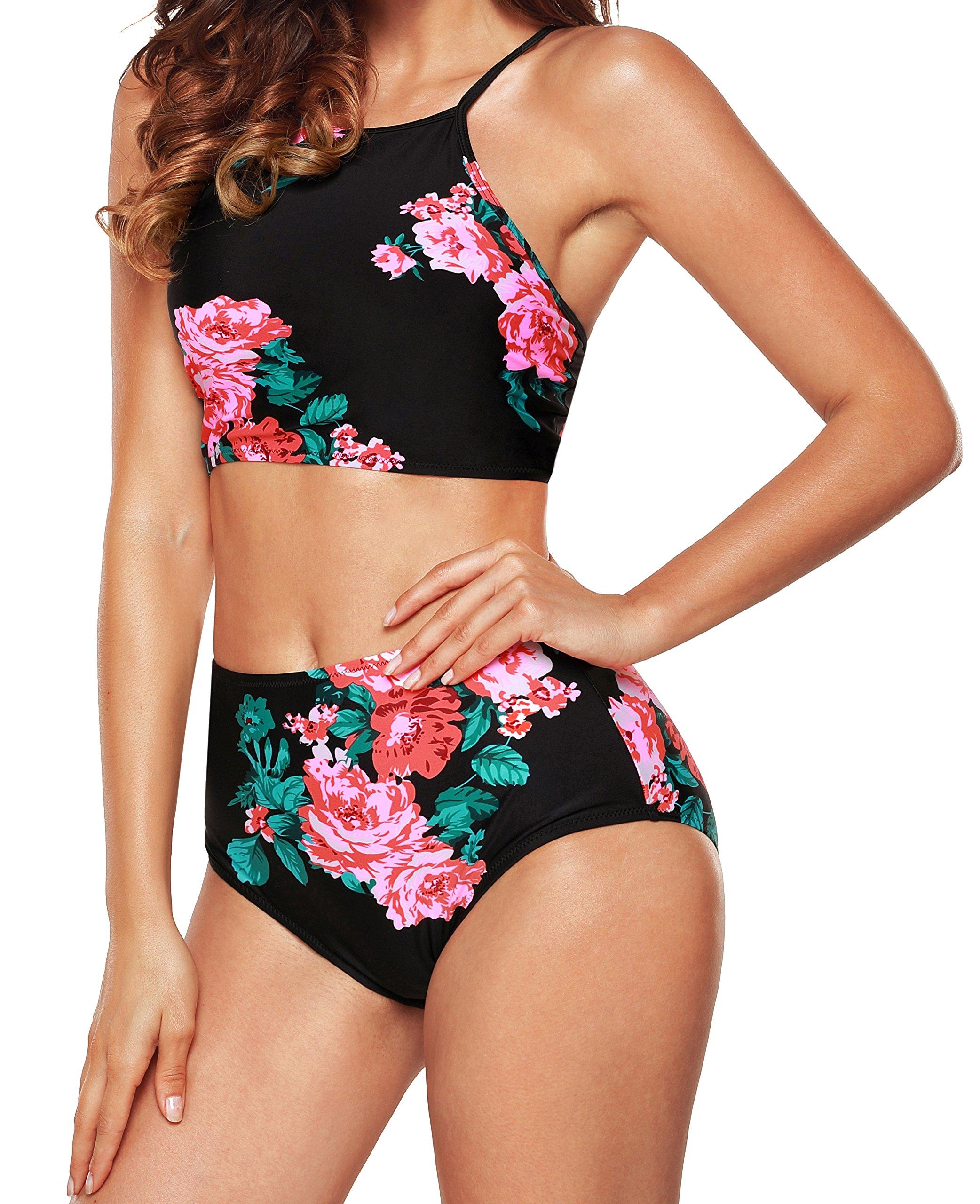 a4707a6a50 Galleon - Angerella Bandeau Bikini Top High Neck Swimsuits For Women  Bathing Suits Swimwear(Green