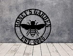 Personalized Bumble Bee Garden Stake Metal Gardening Decor Dedication Memorial Yard Art Marker Bee Sign Metal Wall Art
