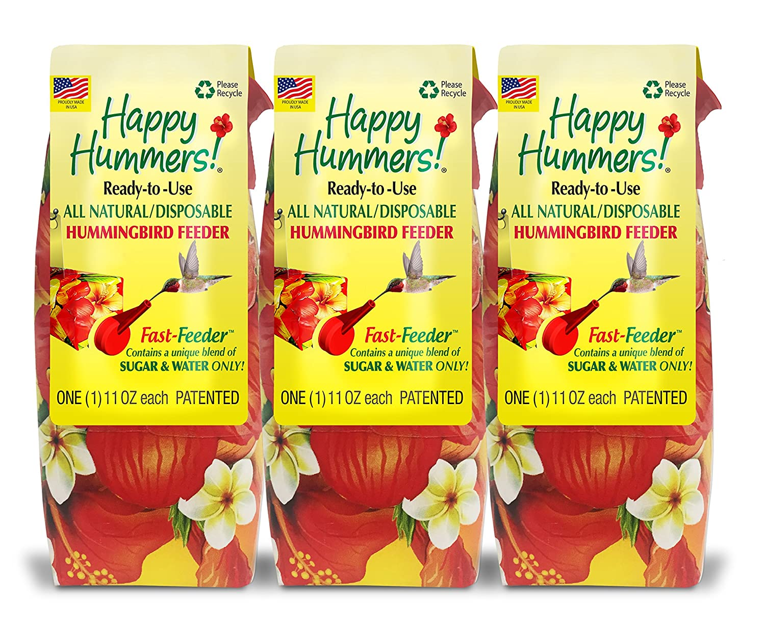EZNectar All-Natural, 3-pack, Disposable, Ready-to-Use, HummingbirdFast-Feeder (3) 11 Fl Oz Each 864349000097