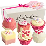 "BRUBAKER 6 Handmade ""Blossom & Hearts"" Spa Bath Bombs Bath Melts Gift Set - All Natural Vegan, Organic Shea Butter, Cocoa Butter and Olive Oil Moisturize Dry Skin."