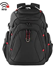KROSER Travel Laptop Backpack 17.3 Inch XL Heavy Duty Computer Backpack with USB Charging Port RFID Pockets Water-Repellent Business College Daypack Stylish Big School Laptop Bag for Men/Women-Black