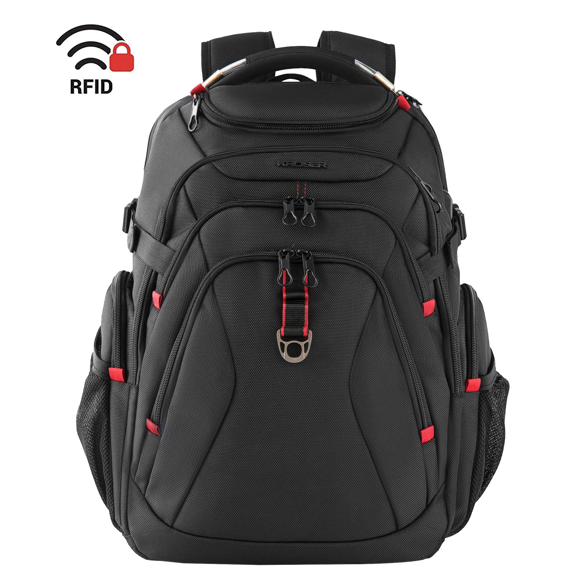 KROSER Travel Laptop Backpack 17.3 Inch XL Heavy Duty Computer Backpack with USB Charging Port RFID Pockets Water-Repellent Business College Daypack Stylish Big School Laptop Bag for Men/Women-Black by KROSER (Image #1)
