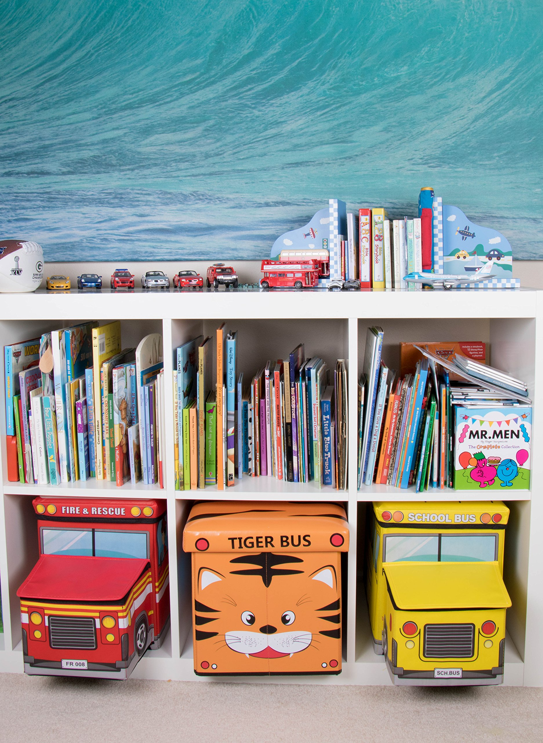 Safari Bus Collapsible Storage Organizer by Clever Creations | Storage Box Folding Storage Ottoman for Your Bedroom | Perfect Size Storage Chest for Books, Shoes & Games by Clever Creations (Image #7)