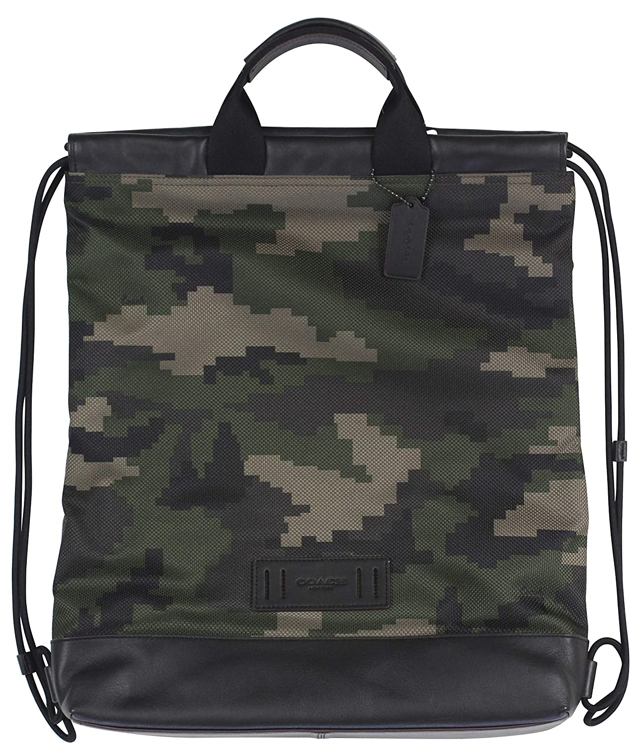 Image of Coach Men's Terrain Drawstring Slim Backpack Bag in Dark Green Camo, Style F72926. Luggage