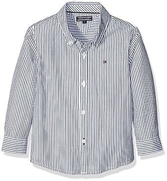 Tommy Hilfiger Jungen Hemd Park Stripe Shirt Fashion L S, Blau (Medieval  Blue a52e8ece5a