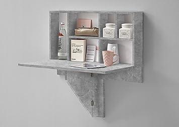 wohnorama arta 2 klapptisch inkl regal von fmd beton weiss by