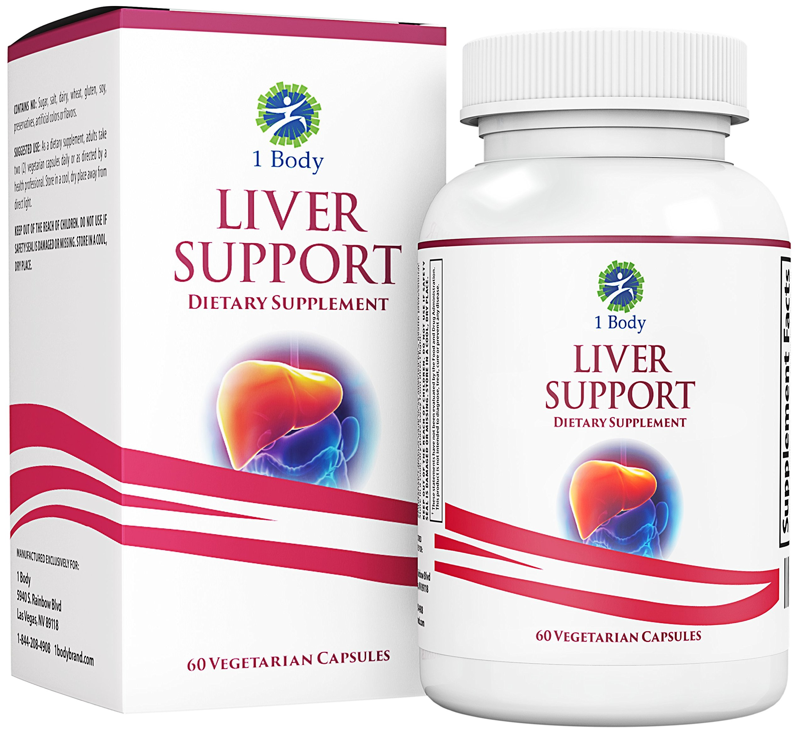 Liver Cleanse and Support Supplement - Milk Thistle Extract (Silymarin), Turmeric Curcumin, Dandelion Root, Artichoke, N Acetyl L Cysteine, Vitamin B12 and More in 2 Vegetarian Capsules by 1 Body