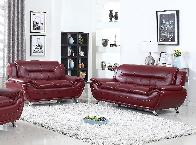 U s livings anya modern living room polyurethane leather sofa and loveseat set 2 piece burgundy