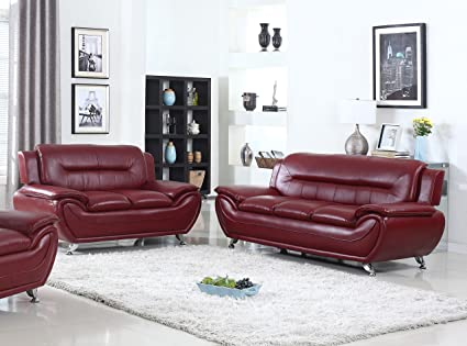 U.S. Livings Anya Modern Living Room Polyurethane Leather Sofa And Loveseat  Set (2 Piece
