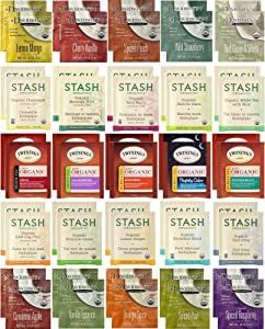 Organic Tea Sampler - Assortment Variety Pack - Black, White, Green, Herbal Tea Bags - Stash, Twinings, Davidson's - 50 Count, 25 Flavors