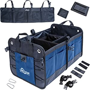 ONYXZER Trunk Organizer for Car and SUV Including Bonus Backseat Trunk Organizer | Heavy Duty Collapsible Trunk Storage Organizer | Stainless Hooks - Straps and Non-Slip Waterproof Bottom