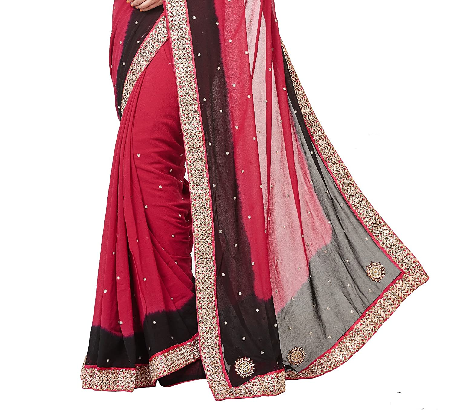 efa5a0b3109 RB Sarees 100% Pure Georgette (70 gram quality) Hand Embroidery Cherry Red    Black Coloured Saree with Pearl Work  Amazon.in  Clothing   Accessories