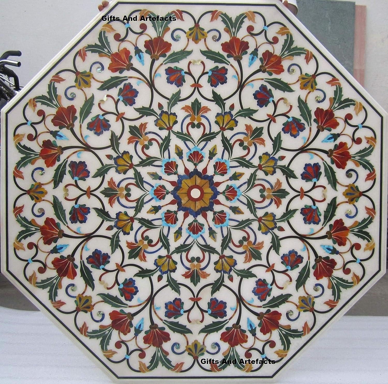 Gifts And Artefacts - Mesa de comedor de mármol blanco octogonal para patio, mesa de café con incrustaciones de arte de marquetería con estampado floral hecho a mano de la India 60 pulgadas