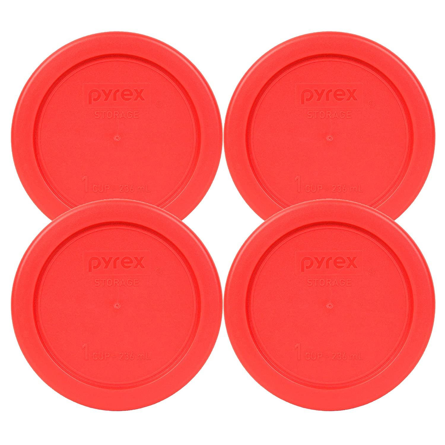 """Pyrex 7202-PC 4"""" Red 1 Cup, 236mL Round Storage Lid 4 Pack Bundle for Glass Bowl"""