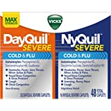 Vicks NyQuil and DayQuil SEVERE Cough Cold and Flu Relief, 48 Caplets (32 DayQuil + 16 NyQuil)