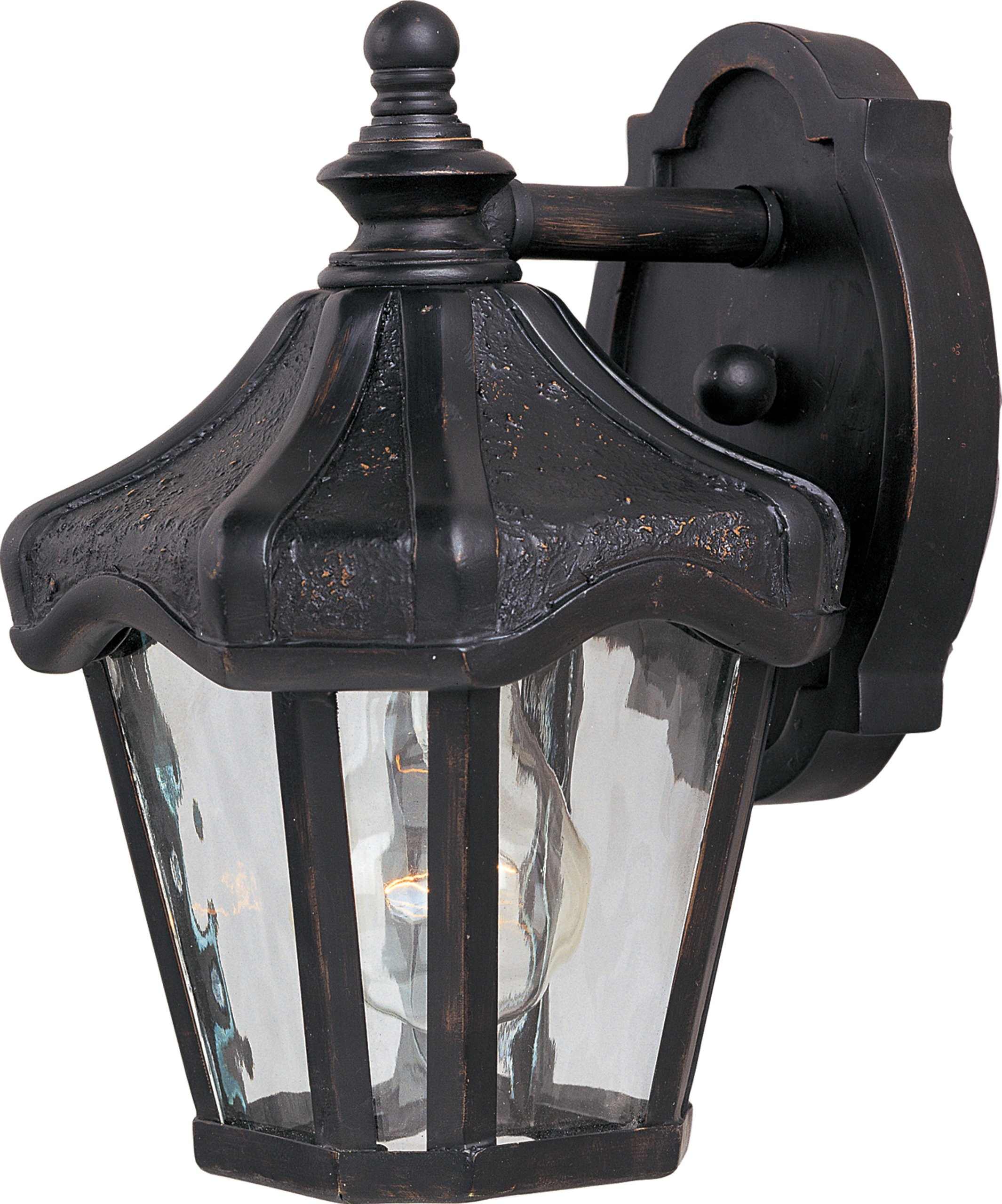 Maxim 40268WGOB Garden VX 1-Light Outdoor Wall Lantern, Oriental Bronze Finish, Water Glass Glass, MB Incandescent Bulb , 13W Max., Dry Safety Rating, 2700K Color Temp, Glass Shade Material, 2400 Rated Lumens