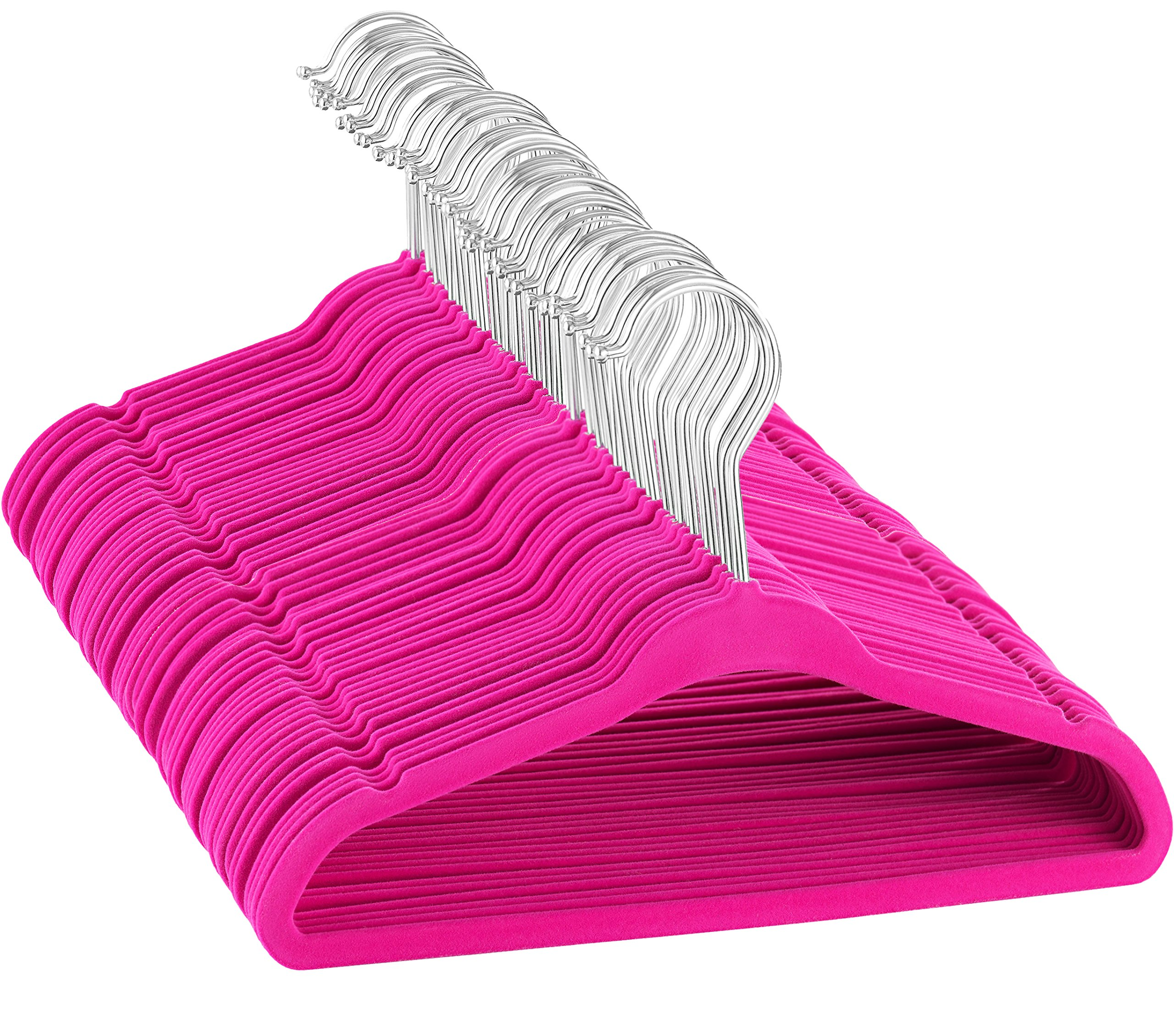 ZOBER - Kids Velvet Hangers - 50 pack - 14'' wide - Premium Quality Space Saving Strong and Durable 360 Degree Chrome Swivel Hook Ultra Thin Non Slip Junior Hangers - (Pink)