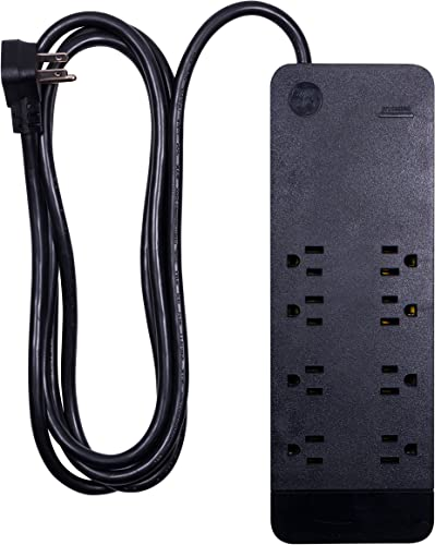 GE Power Strip Surge Protector, 8 Outlets, Flat Plug, Extra Long Power Cord, 8 Feet, Wall Mount, Warranty, Black, 37055