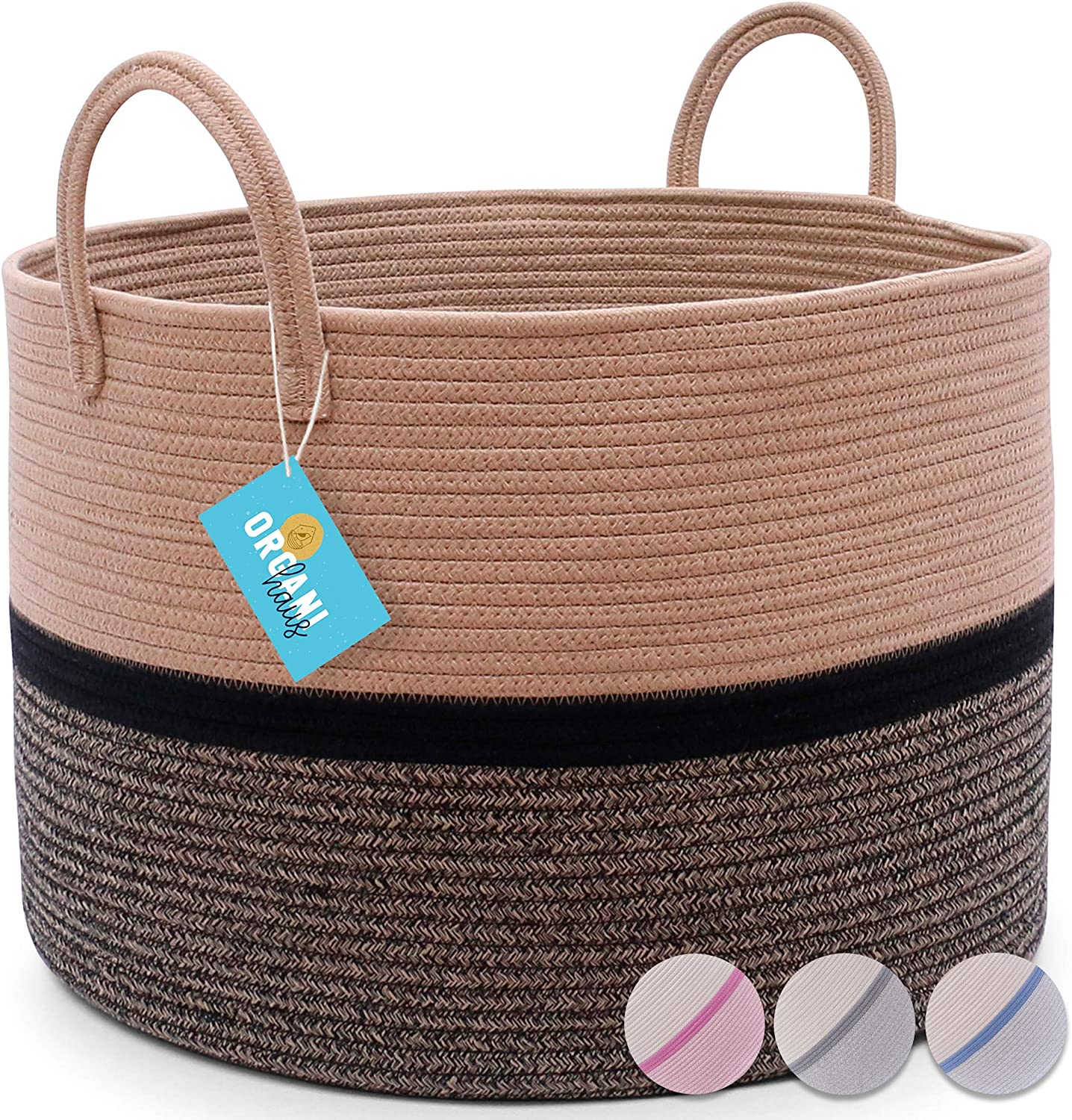 "OrganiHaus XXL Extra Large Cotton Rope Basket | 20""x13.5"" Nursery Storage Basket with Long Handles 