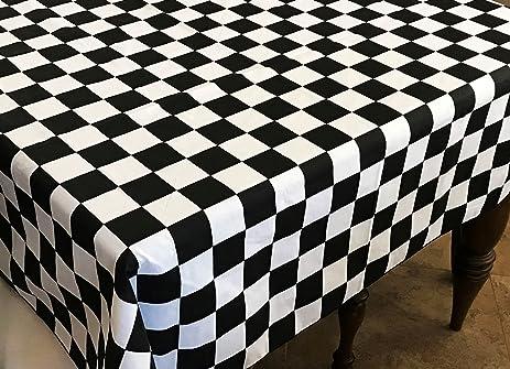 Lovemyfabric Cotton Blend 2 Inch Black U0026 White Checkerboard Print Tablecloth  For Wedding/Bridal Shower
