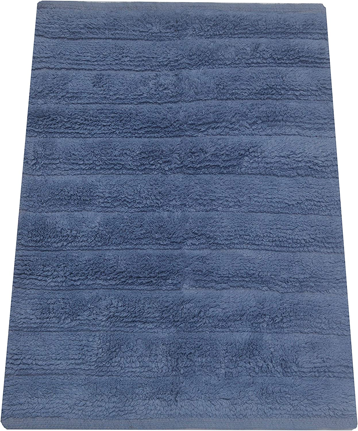 """Chardin Home – Bali Spa 100% Cotton Supersoft Hand Woven Bathroom Rug, Size 20""""x30"""". Provencial Blue"""