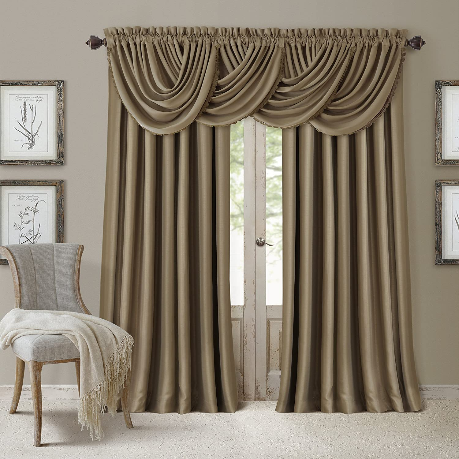 curtain linen curtains gold lines sheer p panels and beige pattern blue