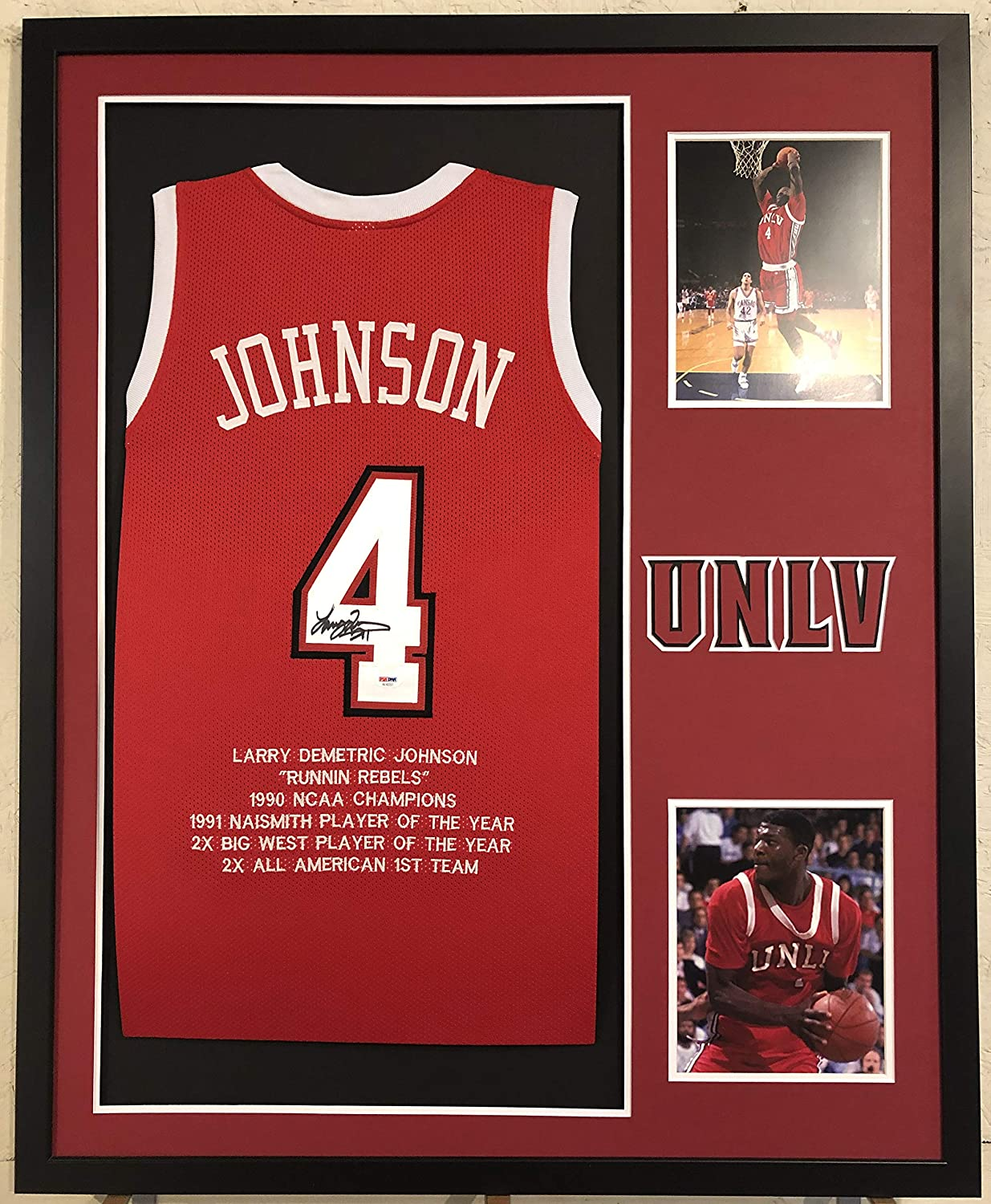 Larry Johnson Autographed Custom Framed UNLV Runnin Rebels Jersey PSA Witnessed COA At Amazons Sports Collectibles Store